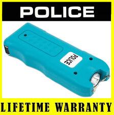POLICE Mini Stun Gun Rechargeable 628 78BV w/ Siren Alarm LED Flashlight - Blue