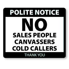 No Cold Calling Door Sticker - Stop Sales Callers Laminated Polite Notice C105