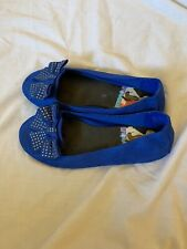 Disney Liv and Maddie Blue suede jeweled bow top flat shoes girls youth 3