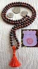 Obsidian Mahogany & Carnelian 8mm 108 Handmade Nirvana Mala Yoga Beads Necklace