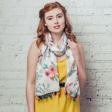 F & J ~ Hazel & Pip Olivia White Scarf ~ Summery Floral print ~ with tassels