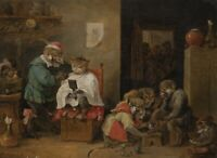A Monkey Barber Shop : David Teniers the Younger  Art Print Suitable for Framing