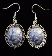 Water Lilies Monet Antique Silver Drop Earrings French Impressionism