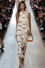 NWT $550 Tory Burch  Women's Natural Striped Canvas Dress   XS   Runway