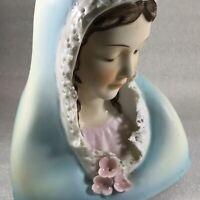 Madonna Mary Ceramic Planter Vtg Lefton China Blue Brown Hair Handpainted
