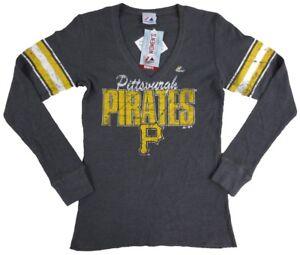 Pittsburgh Pirates MLB Majestic Women's Gray V-Neck Thermal Shirt