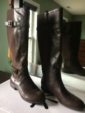 Isaac Mizrahi Live! Abby Gored Brown Leather Riding Boots with Buckle New 7.5 M