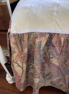 VTG RARE Ralph Lauren Paisley QUEEN Bed Skirt Dust Ruffle Peach, Teal, Red USA