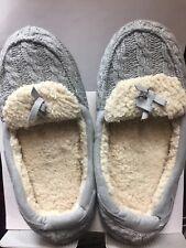 Dearfoams Womens Moccasin Style Slippers Gray Size Medium Retails $28.00