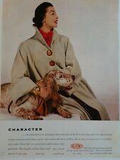 1952 women's DuPont beige coat English setter dog vintage fashion photo ad