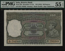 TT PK 20b 1943 INDIA 100 RUPEES KING GEORGE VI PMG 55 EPQ ABOUT UNCIRCULATED