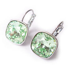 Chrysolite Mint Green Cushion Cut Drop Earrings w/ 12mm Swarovski Crystal