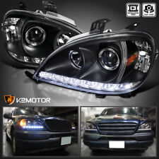 98-01 Mercedes Benz W163 ML ML320 ML430 LED DRL Strip Black Projector Headlights