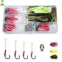 Stainless Steel Fish Hooks With PE Line Fishing Split Ring Silicone Jig Skirts