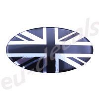 Chrome & Black UK Union Jack flag Car Sign 3D Decal domed oval 145mm range rover