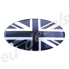 Chrome & Black UK Union Jack flag Car Sign 3D Decal domed oval 145mm