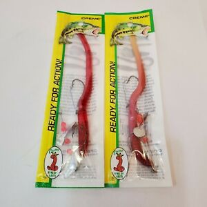 """Creme Lure Pre-Rigged Weedless 6"""" Red & Live Scoundrel Bass Fishing Worm ~ 2 Pk"""