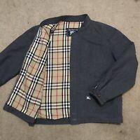 BURBERRY's Jacket coat Harrington Bomber nova Check WOOL Lined gray size 39 S/M