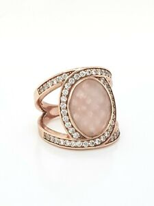 Thomas Sabo Sterling Silver Rose Gold Plated Eternity Rose Quartz Ring Size 54