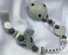 ♕ Personalised DUMMY CLIP Your Name Choice ♕ Cute DINOSAUR - Grey & White ♕