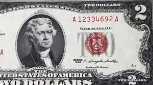 1963 $2 DOLLAR BILL (Red Seal) MONTICELLO ,UNCIRCULATED