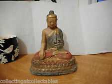 Antique Cold Painted Sitting Metal  Buddha