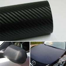 "12""x50"" Black 3D Carbon Fiber Vinyl Car DIY Wrap Sheet Roll Film Sticker Useful"