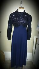 True Vintage Sequin long Vintage 1920s~30's Cocktail Party gown dark blue
