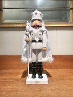 """2020 14"""" WHITE CAPE GLITTER SNOW KING NUTCRACKER ~NEW~"""