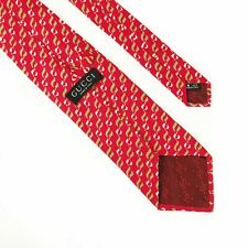 Authentic GUCCI Tie Cravate Italy Red Pattern Gucci Tie 100% Silk