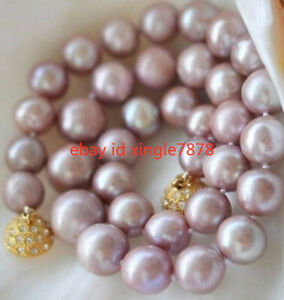 Real 8-9mm Genuine Lavender Purple Akoya Cultured Pearl Necklace 20'' AAA++