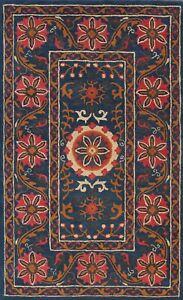 Contemporary Art & Craft Oriental Hand-Tufted Area Rug Navy Blue Wool Carpet 5x8