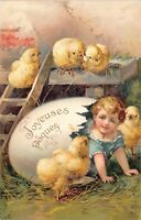 Easter Postcard Baby Crawling Out of Eggshell Chicks~127262