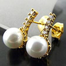 FSA585 REAL 18K YELLOW GF GOLD DIAMOND SIMULATED PEARL STUD DROP EARRINGS
