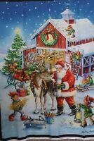 Christmas Ready Rudolph digitally printed 100% cotton fabric panel 35 x 43