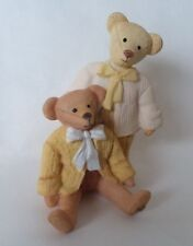 """Sarah's Attic Two Teddy Bear in Beige Yellow Jackets Bow Ties 2 1/4"""" T"""