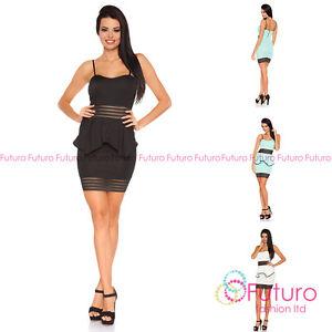 Exclusive Bodycon Peplum Mini Dress Bustier Style Elegant Mesh Sizes 8-14 FC1641