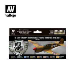 Vallejo 71183 US Army Air Corps MTO Model Air Paint Set (8 Colors) 17ml Bottles