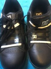 DC Trainers Mens Black Leather Skate Shoes  Size UK 9 Black + White Laces