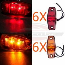 12pcs LED Light Red/Amber Surface Mount Clearance Universal Side Marker Trailer