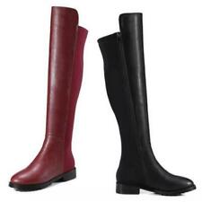 Ladies Over The Knee High Boots Women Block Heel Stretch Calf Leg Shoes US L
