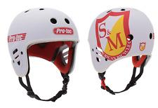 S&M BIKES FULL CUT PRO-TEC HELMET WHITE CERTIFIED SHIELD BMX BIKE PROTEC