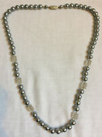 VINTAGE Glass & Grey Faux Pearl Necklace with Decorative Clasp  #9