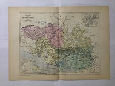 GRAVURE FRANCE ILLUSTREE DEPARTEMENT 56 MORBIHAN 1881 MALTE BRUN CARTE ERHARD