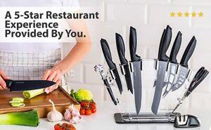 Stainless Steel Knife Set with Block 17 Piece Set Kitchen Knives Knife Sharpener