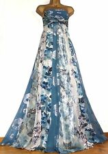 MONSOON ✩ STUNNING YURI BLUE / SILVER SILK MAXI EVENING LONG DRESS ✩ UK SIZE 16