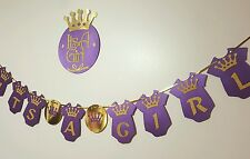 royal purple its a girl princess crown baby shower hanging banner with a sign
