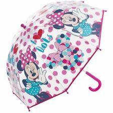 Disney Minnie Mouse Transparent I Love Dots Umbrella Brolly Fold Down New
