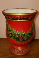 Vintage Napcoware Red Planter Christmas Pinecones Garland Japan X-8648 Vase