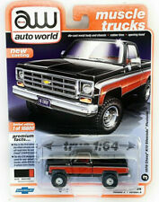 AUTOWORLD 1978 CHEVROLET K10 SILVERADO FLEETSIDE 1/64 RED / BLACK AWSP044 A
